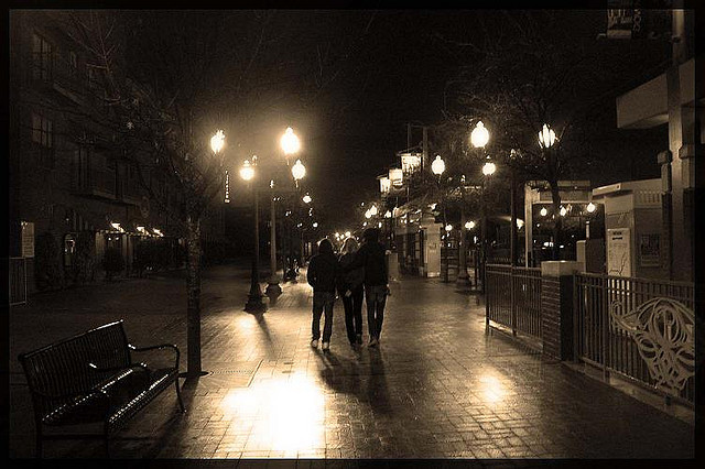 Friends in nightime walking