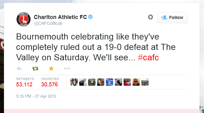 Charlton Athletic FC tweet on AFC Bournmouth's