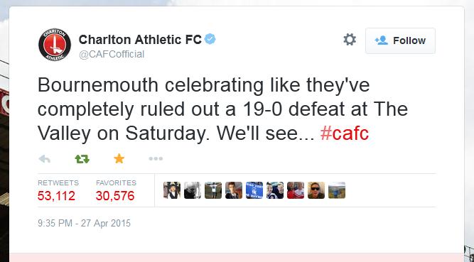 Charlton Athletic FC tweet on AFC Bournmouth's